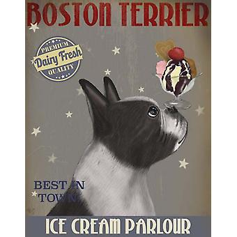 Boston Terrier Ice Cream Poster Print by Fab Funky (13 x 19)
