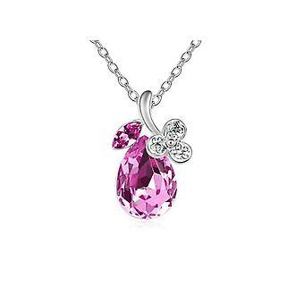 Womens Hot Pink Diamante Crystal Silver Flower Petal Teardrop Pendant Necklace