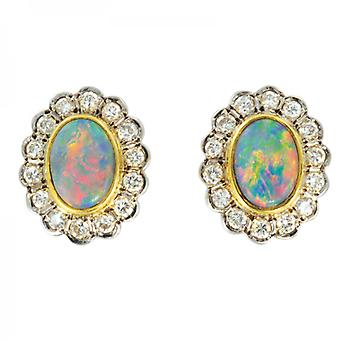 Shipton and Co Ladies Shipton And Co Exclusive 18ct Yellow Gold Pave Set Dimaond And Black Opal Earrings S06425BOD