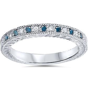 1 / 6ct blauw & White Diamond Vintage trouwring 14K White Gold
