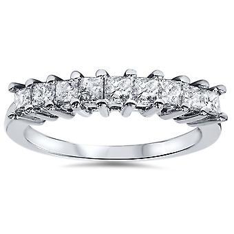 1 / 2ct Принцесса Cut Diamond обручальные кольцо из белого золота 14K