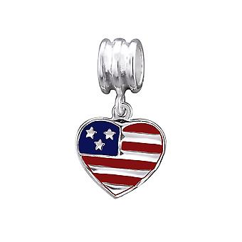 Usa Flag - 925 Sterling Silver Plain Beads - W29521X