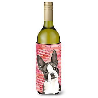 Amor una botella de vino de Boston Terrier Beverge aislador Hugger