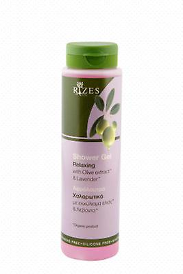 Relaxing shower gel with olive oil and lavender.