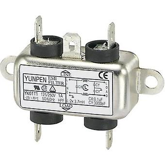 Yunpen YK01T1 EMI filter 250 V AC 1 A 3.7 mH (L x W x H) 44 x 48.7 x 18 mm 1 pc(s)