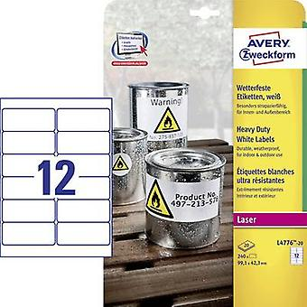 Avery-Zweckform L4776-20 Labels 99.1 x 42.3 mm Polyester film White 240 pc(s) Permanent All-purpose labels, Weatherproof labels
