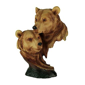 Faux Carved Bear Heads Wood Look Statue