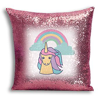 i-Tronixs - Unicorn Printed Design Rose Gold Sequin Cushion / Pillow Cover with Inserted Pillow for Home Decor - 3
