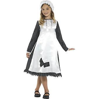 ビクトリア朝のメイド コスチューム、青・白、ドレス ・帽子