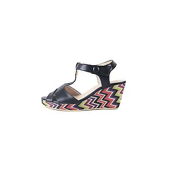 LMS Black Wedge Sandal With Zig-Zag Printed Sole