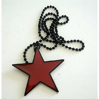 Star Hip Hop Pendant Necklace w/ Black Chain Necklace 24 Inches