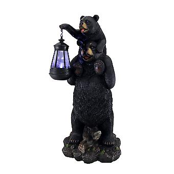 Lifting Spirits Bear Cub on Shoulders Statue and Solar LED Lantern