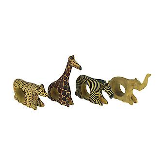 Set of 4 Hand Carved African Wild Animal Napkin Rings