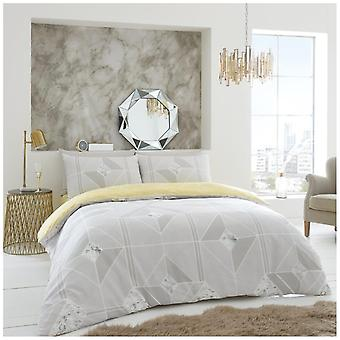 Harmony Diamond Print Duvet Quilt Cover Reversible Bedding Set With Pillow Case
