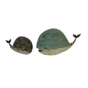 Distressed Blue Black and White Wooden Whales Decorative Statue Set of 2