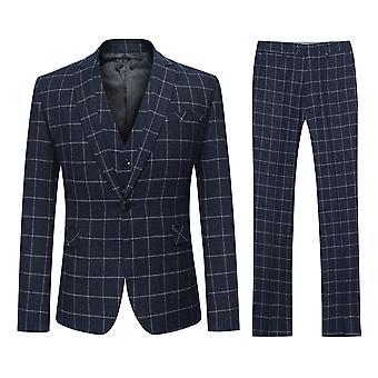 Allthemen Men's Slim Korean Version One-Button 3-Piece Suit