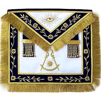 Masonic Blue Lodge Past Master Apron Hand Embroidered Bullion Vine-Satin