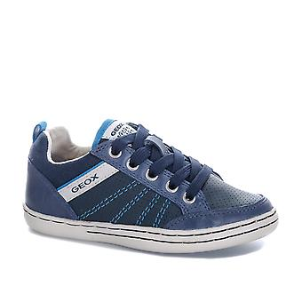 Junior Boys Geox Garcia Trainers In Navy- Lace Fastening With Zip To Side- Pull