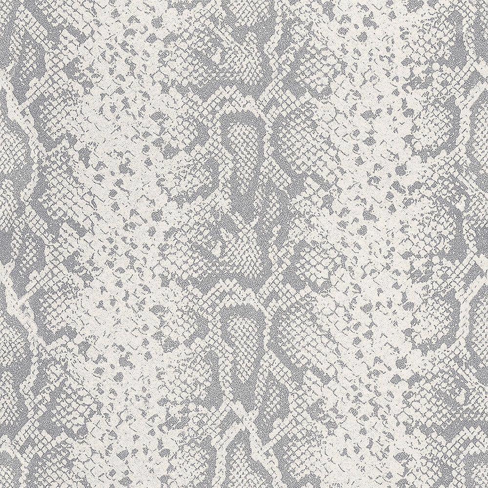 Rasch Silver Grey Glitter Animal Print Snake Skin Wallpaper Textured Metallic
