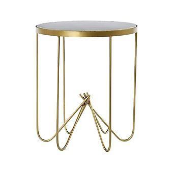 Fusion Living Biały marmur i mosiężny okrągły stół boczny