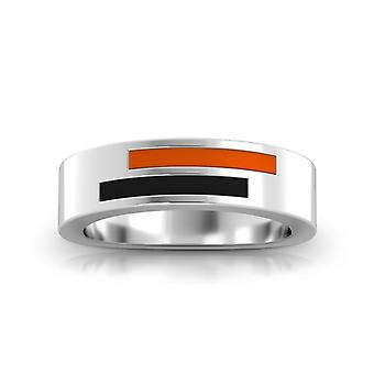 University Of The Pacific Sterling Silver Asymmetric Enamel Ring In Orange and Black