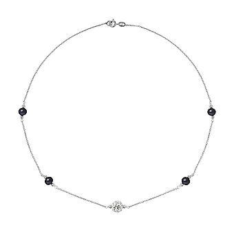 Svart kultivert perler halskjede, krystall og sølv 925
