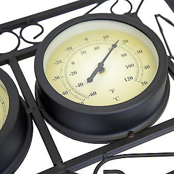 Zwarte sierlijke tuin buiten metalen muur gemonteerd frame klok & thermometer