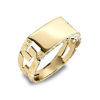 Jewelco Londen mannen solide 9ct Yellow Gold Curb link rechthoekige Signet ring