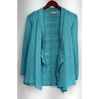 Joan Rivers clássicos coleção camisola drapejar frente Cardigan azul A276322