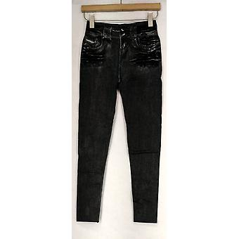Slim 'N Lift Leggings S/M Caresse Print Knit Ankle Length Pull-On Black c415986