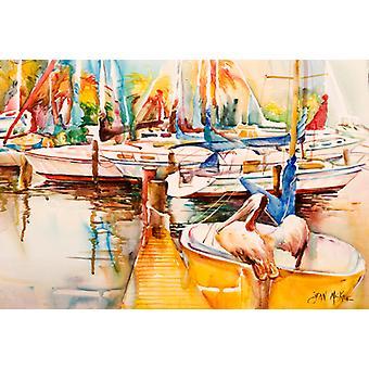 Zeilboot met pelikaan gouden dagen stof placemat