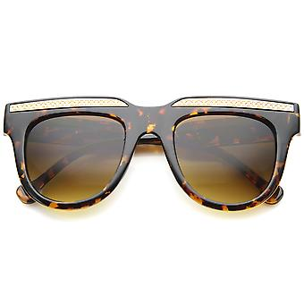 Retro Metal Accent Flat Top Horn Rimmed Oversize Sunglasses 50mm