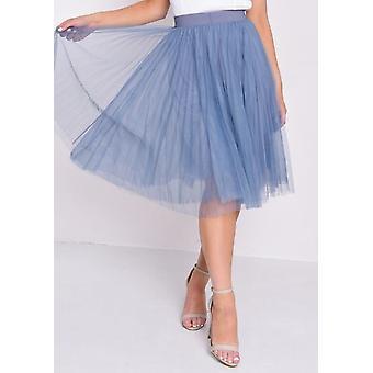 Geplooide hoog getailleerde Tule mesh rok blauw