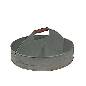 Benzara galvanized divided serving tray with wood handle, gray