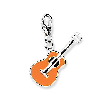 925 Sterling Silver Rhodium plated Fancy Lobster Closure 3 d Enameled Guitar With Lobster Clasp Charm Pendant Necklace M