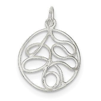925 sterling sølv solid runde polert fancy anheng halskjede smykker gaver til kvinner - 1,1 gram