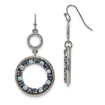 Silver tone Shepherd crochet Lt Dk Blue Crystal Circle Long Drop Dangle Boucles d'oreilles mesures 54x27mm Large Jewelry Gifts for Wo