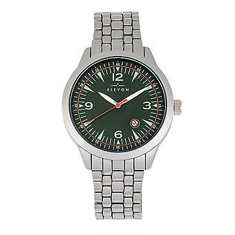 Elevon Atlantic Bracelet Watch w/Date - Silver/Green