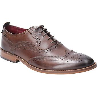 Base London Mens Focus Washed Lace Up Brogue Oxford Shoes