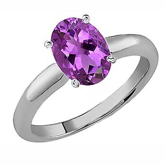 Dazzlingrock Collection 14K 9x7 MM Oval Cut Amethyst Ladies Solitaire Bridal Engagement Ring, White Gold