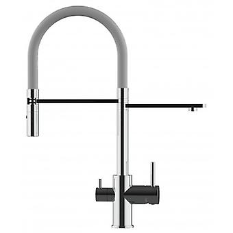 3 Way Kitchen Filter Sink Mixer With Grey Spring Spout And 2 Jet Spray, Works With All Water Filter System - 167