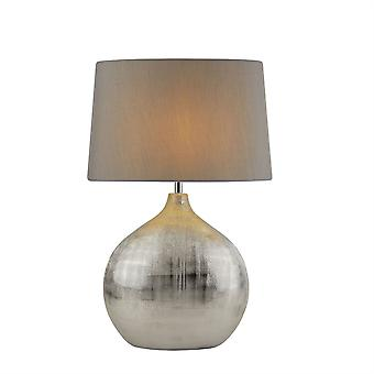 Searchlight Artisan 1 Light Table Lamp Chrome, Grey Shade 4353CC