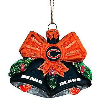 Chicago Bears NFL Blown Glass Holiday Bells Ornament