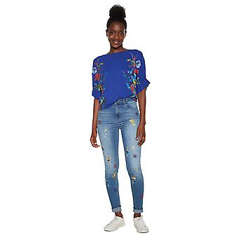Desigual Women's Kathy Ruffle Arm Floral Tshirt Top