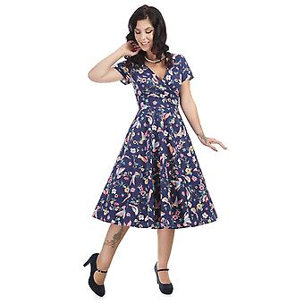 Collectif Vintage Women's Maria Flared Charming Bird Dress