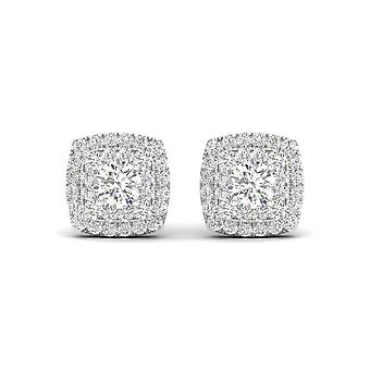 Orecchini a doppio bordello a doppio alone a doppio diamante a ct certificati Igi in oro bianco 10k
