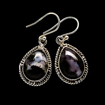 "Gabbro Stone Earrings 1 1/4"" (925 Sterling Silver)  - Handmade Boho Vintage Jewelry EARR393424"