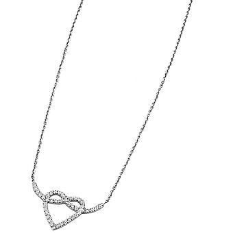 Necklace and pendant Lotus Style LP1283-1-1 - collar and silver rhinestone Chic woman heart pendant
