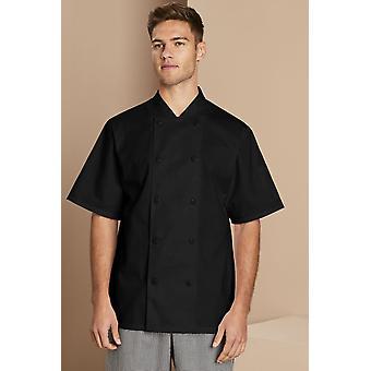 SIMON JERSEY Men's Short Sleeve Heat Proof Button Chef's Jacket, Black