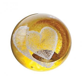 Caithness Glass Special Moments Gold Heart Paperweight